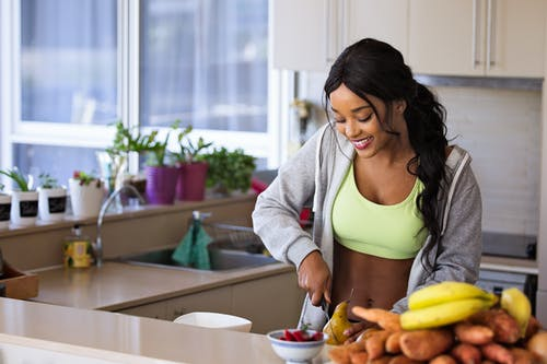 Lady cooking healthy meal